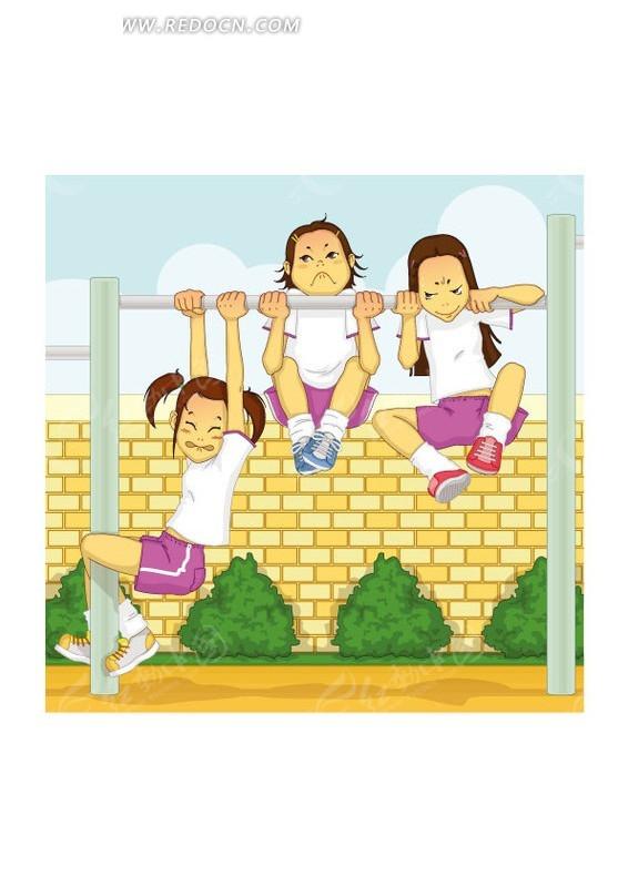 手绘插画 怀旧海报的三个时尚长腿女孩_卡通形象_红动