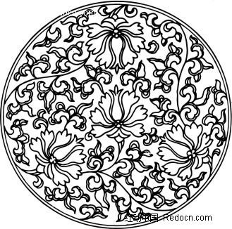 圆形中国传统花纹图片