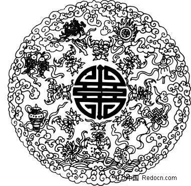 中国古典图案-花朵花瓶和云纹构成的精美图案图片