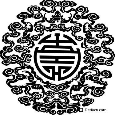 中国古典图案-云纹和蝙蝠构成的圆形图案矢量图图片