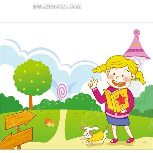 小女孩看书坐着卡通图片侧面