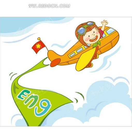 橙色飞机 小男孩 天空