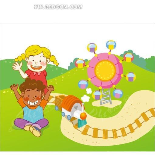 小火车 摩天轮 小玩具 小朋友 漫画 卡通人物 矢量素材 卡通 手绘
