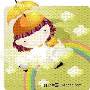 被云朵包围的可爱小女孩