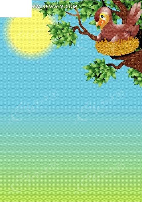 阳光下树上鸟窝里的小鸟