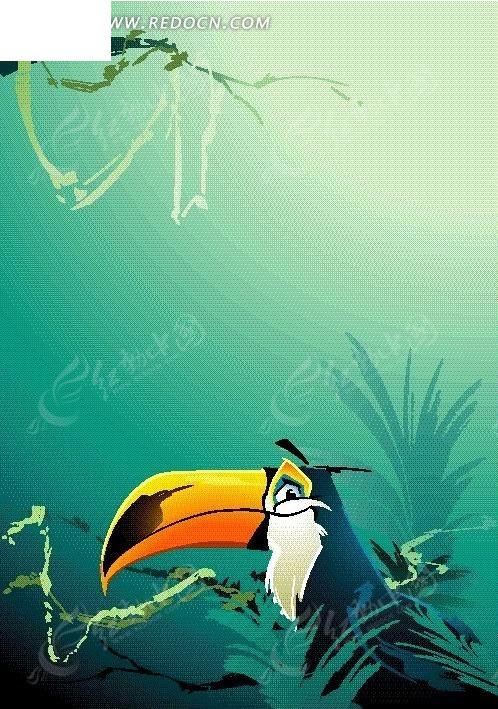 手绘可爱的大嘴鸟