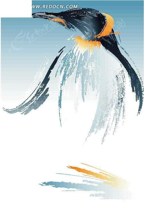 手绘抽象企鹅图片