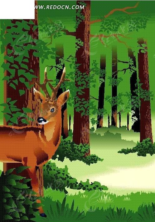 森林里可爱的小鹿矢量图_卡通形象