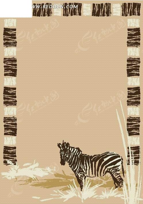 手绘可爱的斑马背景