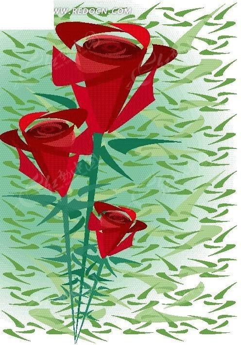 手绘红红的玫瑰花