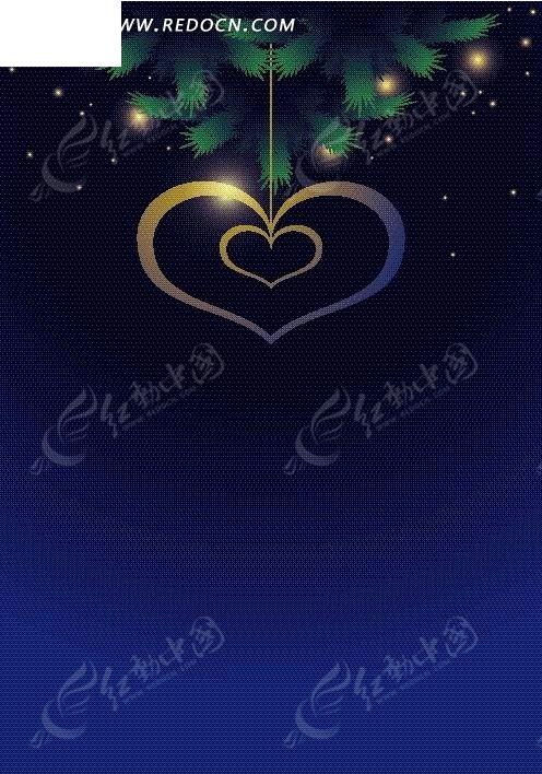 手绘星空圣诞树悬挂的心形吊饰图片