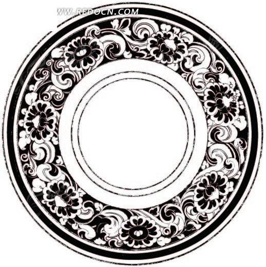 单色圆形青花瓷盘子花纹ai矢量文件矢量图(编号:1449251)_传统图案