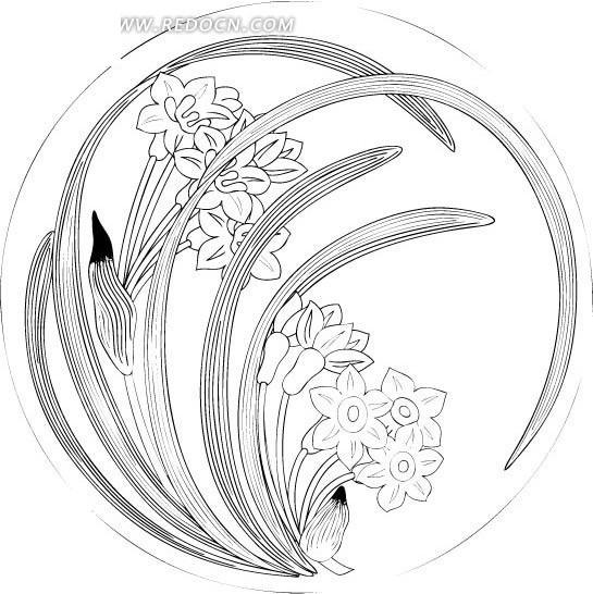 圆形中国传统兰花花纹图片