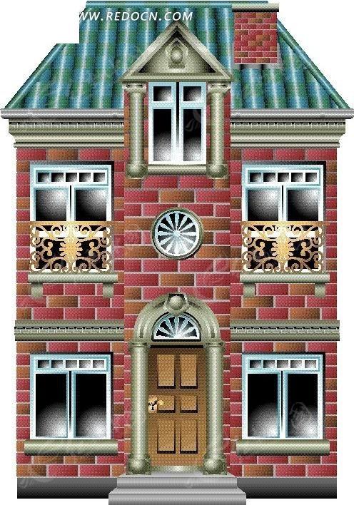 卡通欧式多窗别墅图片