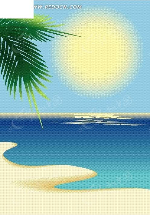 海边沙淮椰子树矢量图_卡通形象