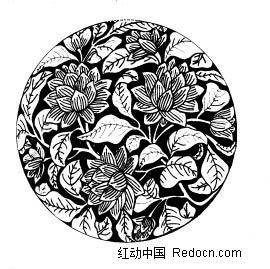 精美 圆形 中国 传统 荷花 花纹  传统图案 矢量素材图片