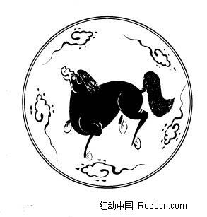 免费素材 矢量素材 艺术文化 传统图案 中国古典图案-动物和云纹构成
