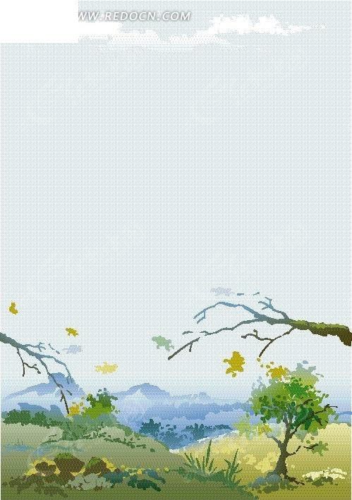 手绘卡通野外风景树木景色图形