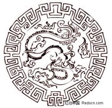中国传统圆形龙纹素材矢量图