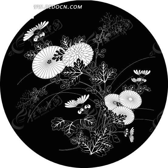 中国古典图案-花朵和叶子构成的圆形图案