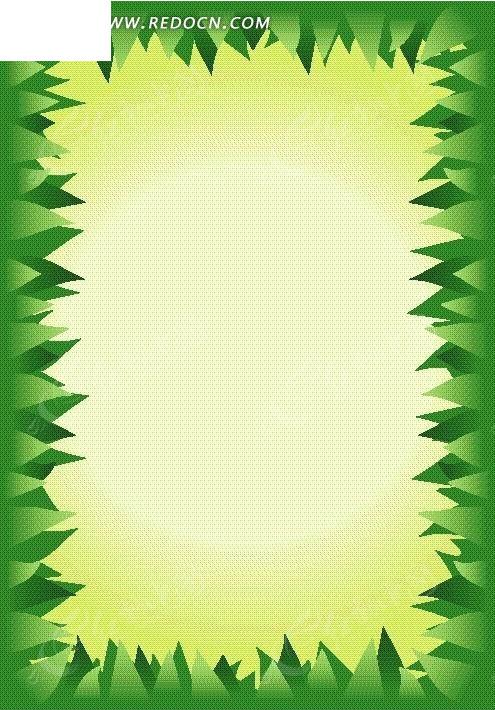 绿色三角形构成的矩形边框设计图片;