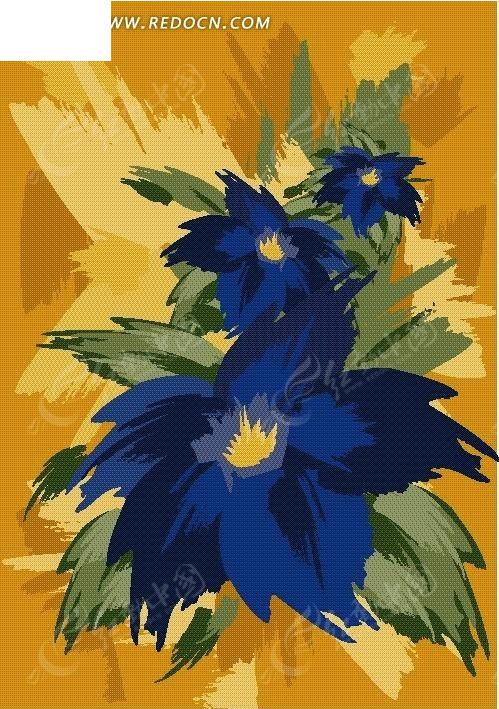 手绘精美的蓝色花朵