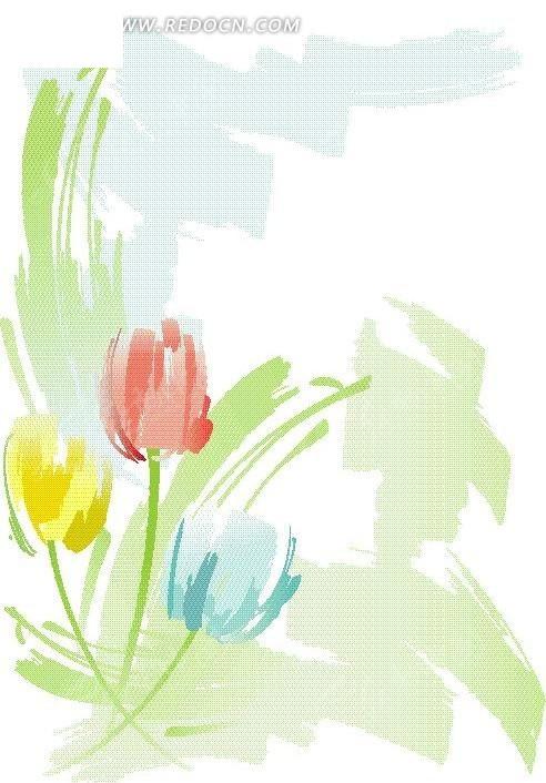 矢量手绘彩色花朵花瓣插画图形矢量图_卡通形象