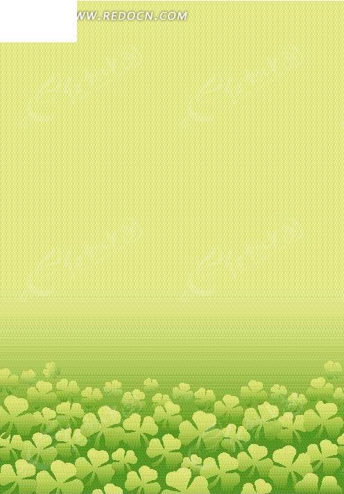 手绘一片青绿四叶草园图片