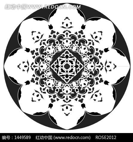 中国古典图案-花瓣形和几何形构成的圆形图案矢量图