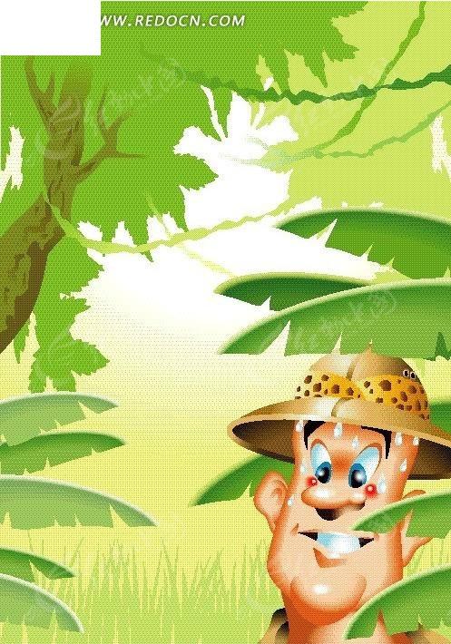 探险家在热带丛林中探险矢量图_卡通形象