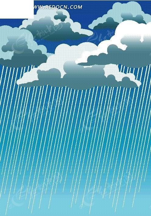 矢量手绘下雨的云朵插画图形
