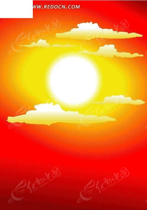 矢量金红色太阳插画图形