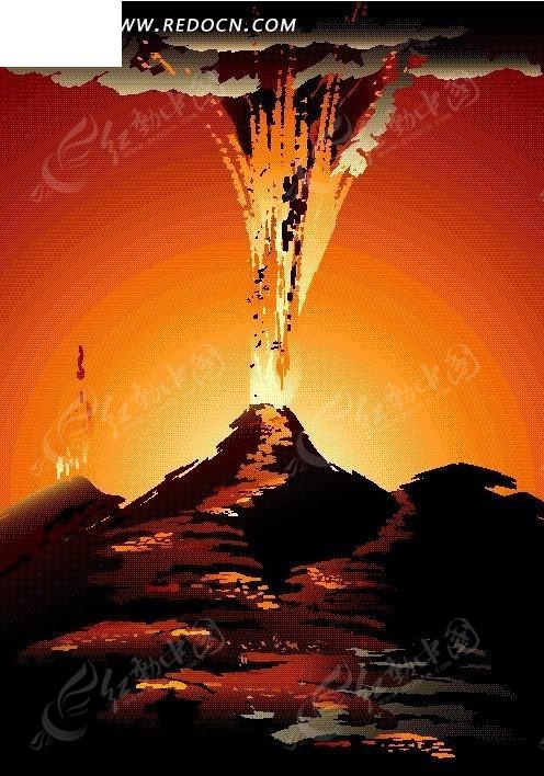 矢量手绘火山喷发插画图形