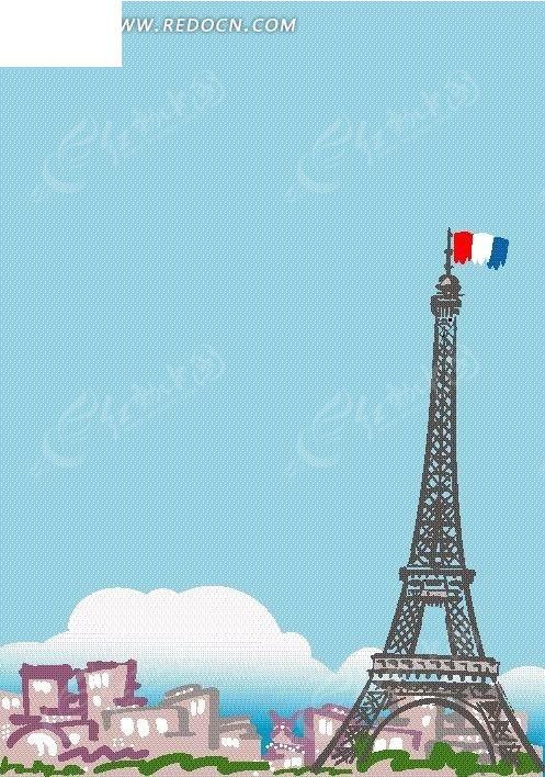手绘卡通巴黎埃菲尔铁塔