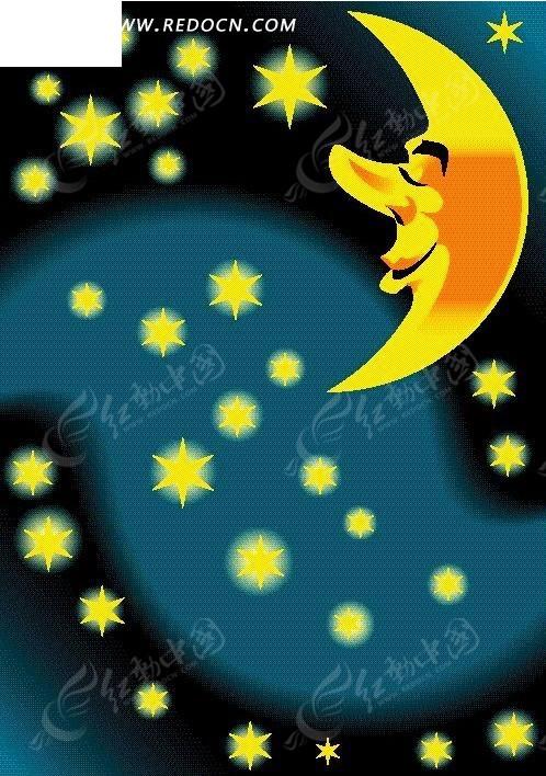 星星和卡通月亮矢量图片