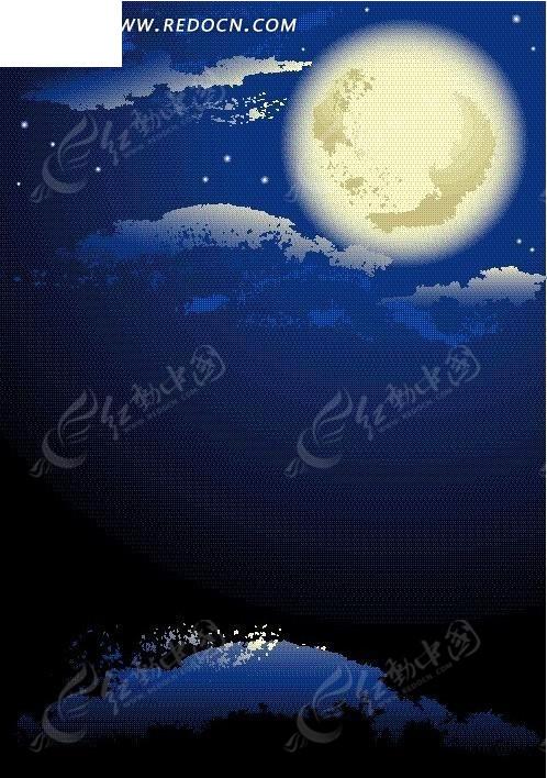 海报手绘月亮马克笔