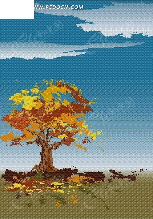 草地  落叶 黄叶  大树 白云 蓝天 背景素材 风景图片 自然风光 自然