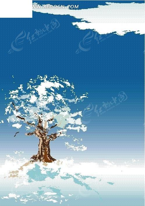 手绘大树背景图片竖版