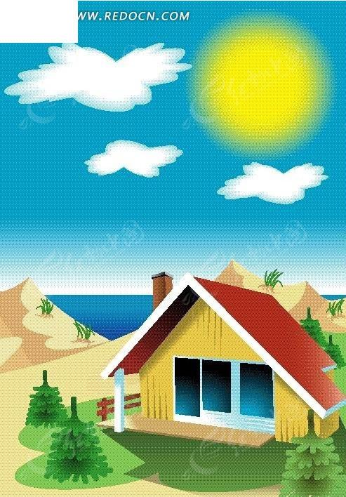 手绘阳光下海滩度假屋