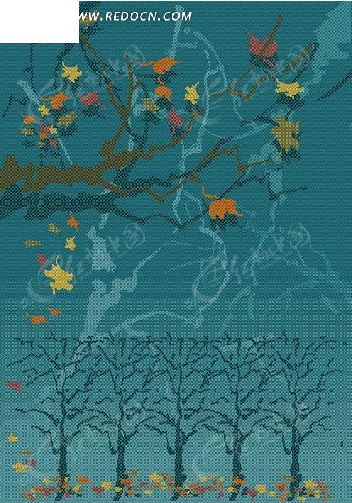 手绘枫树落叶图片