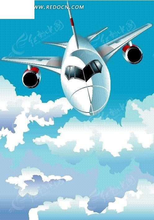 手绘云层上的客机