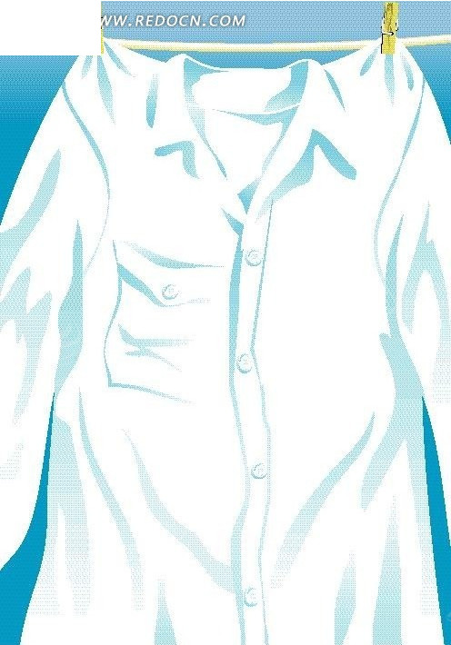 蓝色背景 矢量图形 手绘白色衬衫插画 晾衣架 风景图片 自然风光 自然