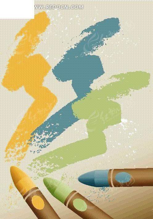 手绘 涂画 彩色 蜡笔 画画 画笔 风景图片 自然风光 自然风景 矢量