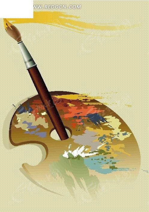 手绘油画板和画笔