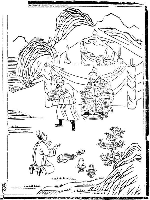 中国古代人物插画-帐篷前的将军和跪着的男子