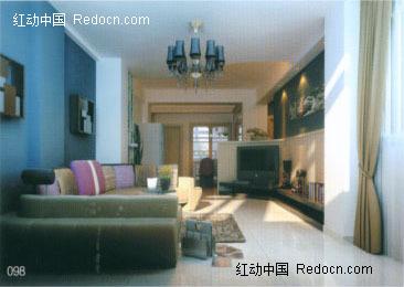 现代简装客厅3d效果图图片