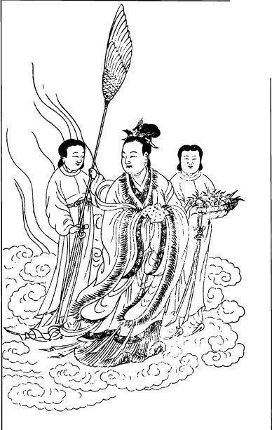 古代人物 云层 女菩萨 仙女 中国风 中国古典 艺术 黑白 绘画 神话