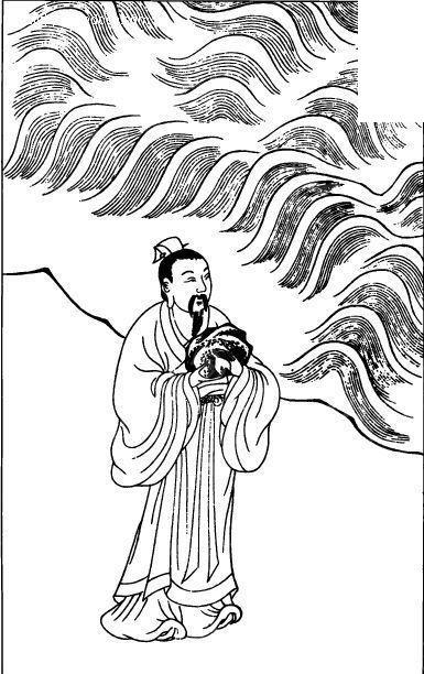 中国古代人物插画-波浪和男子矢量图图片