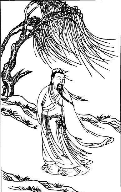 中国古代人物插画-柳树下衣袂飘飘的男子