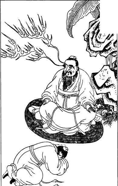 中国古代人物插画-坐着的老人和跪着的男子